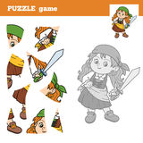 Puzzle Game for children, pirate girl Stock Images