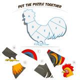 Puzzle game for children rooster Royalty Free Stock Images