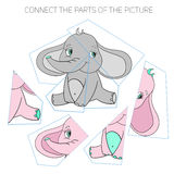 Puzzle game for chldren elephant Royalty Free Stock Image