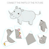 Puzzle game for chldren rhino. Cartoon doodle hand drawn vector illustration Royalty Free Stock Photography