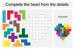Puzzle game with colorful details for children, complete the heart, hard level, education game for kids, preschool royalty free illustration
