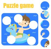 Puzzle game, Find missing part of picture. Educational activity for pre school years kids, toddlers and children. Summer holidays theme Stock Photography