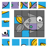 Puzzle game with fish. Kids activity sheet. Educational puzzle game for children. Kids activity sheet with fish character, restore the picture with mosaic pieces Royalty Free Stock Images