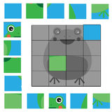 Puzzle game with frog. Mosaic kids activity sheet Stock Photos