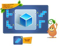 Puzzle game make the cube. Educational game for kids, puzzle. development of spatial thinking in children suitable both for kids and adults. Task game which of royalty free illustration