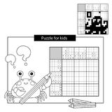 Puzzle Game for school Children. Octopus. Black and white japanese crossword with answer. Cartoon Vector Illustration of Education Puzzle Game for school Royalty Free Stock Photography