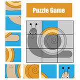 Puzzle game with snail. Kids activity sheet Stock Photos