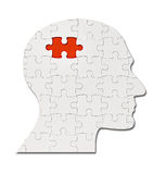 Puzzle game solution head silhouette mind brain Royalty Free Stock Images