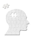 Puzzle game solution head silhouette mind brain Royalty Free Stock Image