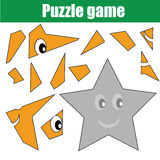 Puzzle game with star shape. Printable kids activity sheet Royalty Free Stock Photography