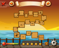 Puzzle game. Game template with ocean view and sunset Royalty Free Stock Photos