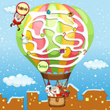 Puzzle game template with Santa on balloon Royalty Free Stock Image
