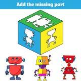 Puzzle game. Visual Educational Game for children. Task: find the missing parts. Worksheet for preschool kids. Vector illustration vector illustration