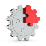 Puzzle gear red part (creativity) Stock Photography