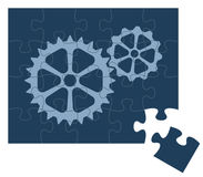 Puzzle gears. A vector puzzle with two gears.All the object are grouped on layers for very easy handled.You can place any picture on top in the puzzle Royalty Free Stock Photos