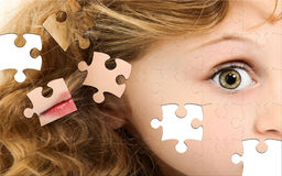 Puzzle Girl Face Royalty Free Stock Photos