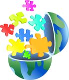 Puzzle globe stock illustration