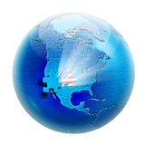 Puzzle on globe with flag USA inside. Puzzle on globe view to North America and with flag USA inside Royalty Free Stock Image