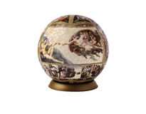 Puzzle globe with Michelangelo picture. Royalty Free Stock Photo