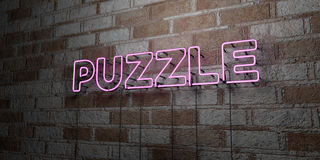 PUZZLE - Glowing Neon Sign on stonework wall - 3D rendered royalty free stock illustration Stock Photo