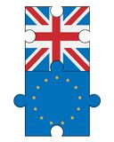 Puzzle with Great Britain and European Union flags Royalty Free Stock Photography
