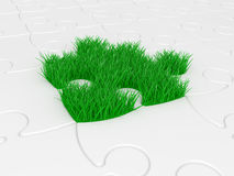 Puzzle with green grass Royalty Free Stock Images