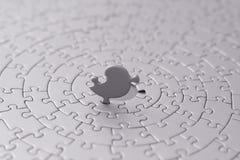 Puzzle grigio con l'ultima parte dritta Fotografia Stock Libera da Diritti