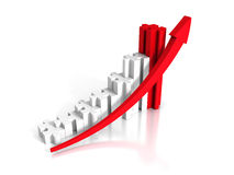 Puzzle Growing Bar Chart With Rising Arrow. 3d Render Illustration Royalty Free Stock Photo