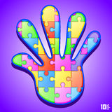 Puzzle in hand. Art idea. Vector illustration Stock Images