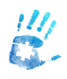 Puzzle hand print illustration design. Over a white background Stock Photography