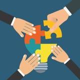 Puzzle hand teamwork support design Stock Photo