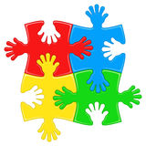 Puzzle hands stock illustration