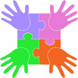Puzzle hands Stock Image