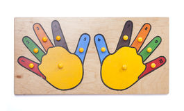 Puzzle hands with numbers. On white background Stock Photography