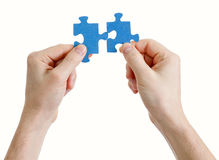Puzzle in hands on white background Stock Images