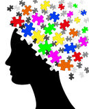 Puzzle head. Illustration of silhouette head with colorful pieces of puzzle Stock Photos