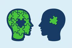 Puzzle head brain. Face profiles against each other with one missing jigsaw piece cut out. Puzzle head brain. Face profiles against each other with jigsaw piece royalty free illustration