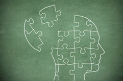 Puzzle in head on chalkboard Royalty Free Stock Images