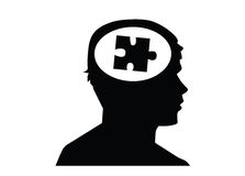 Puzzle in head looking to right. Stock Photos