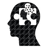 Puzzle head man. Vector illustration of a puzzled head man icon Stock Photos