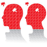 Puzzle heads. Man woman puzzle heads  illustration Royalty Free Stock Image