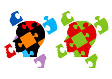 Puzzle heads symbolizing Psychology Royalty Free Stock Photos