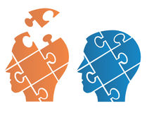Puzzle heads symbolizing Psychology. Two Puzzle heads silhouettes symbolizing Psychology, psychological problems.Vector illustration stock photos