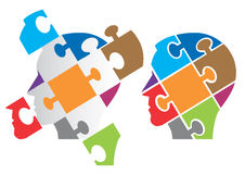 Puzzle heads symbolizing Psychology. Two Puzzle heads silhouettes  symbolizing Psychology, psychological problems, Vector illustration Royalty Free Stock Photo