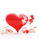 Puzzle heart. Red heart with out one bit Royalty Free Stock Image