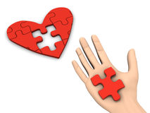 Puzzle Heart. A 3d image of hand finishing puzzle heart Royalty Free Stock Image