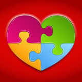 Puzzle Heart. Abstract heart made of puzzle pieces on red background vector illustration