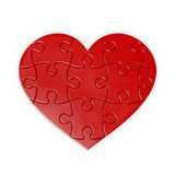 Puzzle of heart . isolated jigsaw. Puzzle of a red heart . isolated jigsaw with clipping path for each piece royalty free illustration