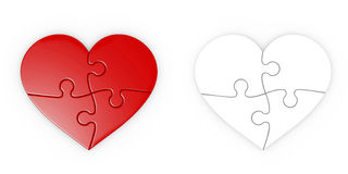 Puzzle of heart . jigsaw with clipping path Stock Image