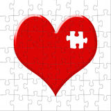 Puzzle-heart with the lost slice. Puzzle in the form of heart with the lost slice stock illustration